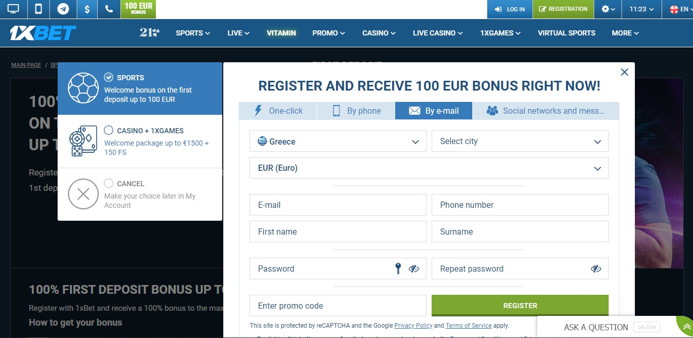 1xBet registration Pakistan